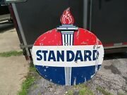 Dsp Porcelain Standard Oil Sign Original 2 Sided Flame Early Advertising