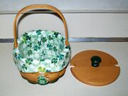 Longaberger 2001 Lucky You Shamrock St Patricks Day Basket Liner Protect And Tie-o