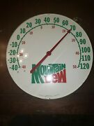 Vintage The Original Jumbo Dial 18 Round Mountain Dew Thermometer Glass Face