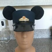 Disney Parks Blue Mickey Mouse Ears Red Car Trolly Conductor Hat Sz Adult L /