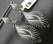 Estate Wide .43ct Diamond 14kt White Gold Double Leaf Clip On Hanging Earrings