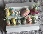 Paper Mache Easter Eggs Lot Of 9 Two Ceramic Rabbits And Lighted Truck Ribbon