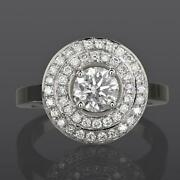 4 Prong Diamond Ring Double Halo Colorless 14k White Gold 2.13 Carat Anniversary