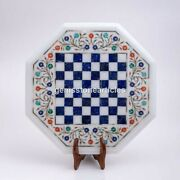 Marble White Chess Top Table With Wooden Stand Lapis Mosaic Art Indoor Game Deco