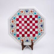 White Marble Chess Table With Wooden Stand For Side Tea Table Playing Game Decor