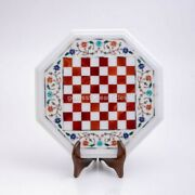 White Marble Chess Table With Stand For Side Table Tea Table, Playing Game Decor