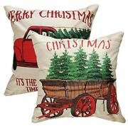 Christmas Pillow Covers 18 X 18 Inches Holiday Decoration With Red Vintage Tr...