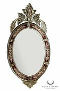 M.r And Co. Paris France Vintage Etched Ruby Red Glass Venetian Mirror
