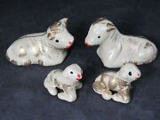 4 Vintage Nativity Manger Sheep Clay Hand Painted Christmas Decorations B1727
