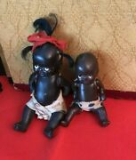 2 Sweet Antique Mini Black African American Bisque Jointed Baby Dollsjapan