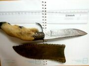 Vintage Finnish Fixed Steel Hunting Knife Handle Leg Leather Case Germany