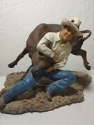 Bull Fighter Wrestling Figurine Statue 9.5 Collectible Rodeo Cowboy