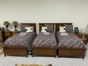 Set Of 3 Wood Twin Beds With Mattresses Sheets Spreads And Pillows