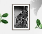 Photo Unidentified Union Officer, With Left Hand On Sword, American Civil War,