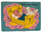 Vintage 1950s Rock-a-bye-baby Sifo Toys Wooden Puzzle Complete Playskool