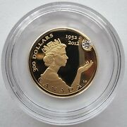 Canada 2012 300 Diamond Jubilee Studded 22g Gold Proof Coin Royal Canadian Mint