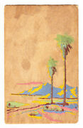 Yucca Wood Postcard, Hand Painted Beach Scene, Posted 1945
