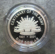 Australia 2001 Centenary Of The Army One Dollar 1 Silver Proof Coin