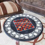 Black Marble Round Chess Top Table With Wooden Stand Handmade Indoor Game Dandeacutecor