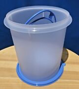 Tupperware Large Bucket Canister 8.5 L-in Clear With Blue Handle And Seal Color