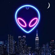Led Alien Neon Wall Sign Cool Light Decorations Accessories Bedroom Home Party