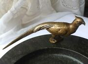 Antique Ashtray Business Cards Tray Bowl Auerhahn Pheasant Bronze Marble F570