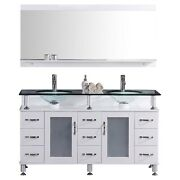 60 Vanity Cabinet With Sink Glass Top And Mirror White By Lesscare