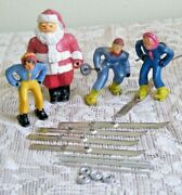 Vintage Barclay Lead Winter Figures Skiers And Santa Claus