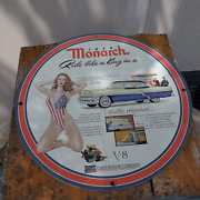Vintage 1949 Monarch V-8 Ford Automobile Motor Company Porcelain Gas And Oil Sign