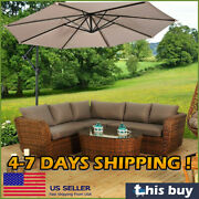 10ft Hanging Umbrella Patio Sun Shade Market With Cross Base Table Outdoor Cover