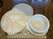 Vtg Tupperware Jello Mold 4 Inserts With Plate / Covered Relish Tray