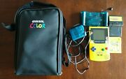 Gameboy Color Yellow Pikachu Version - W/pokemon Yellow And Pinball Games And Case