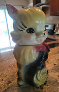 Rare Vintage 30's Cat Cookie Jar Container Bisque Pottery