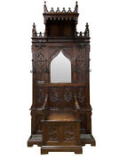 Throne Chair/ Bench / Hall Tree Antique French Gothic Dating From 19th Century