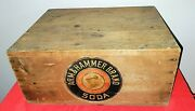 Early 1900's Arm And Hammer Wood Crate Both Sides Recessed With Paper Labels