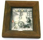 Vintage Silhouette Painted Glass Picture Spinning Wheel Richards Germany Framed
