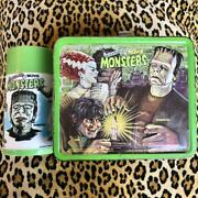 Aladdin 1979 Universal Movie Monsters Metal Used Lunchbox W / Thermos Green F/s