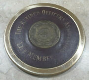 The Retired Officers Association Life Member Brass And Leather Coaster Paperweight