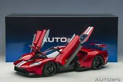 Autoart Ford Gt 2017 Liquid Red With Silver Stripes 1/12 Scale New Release