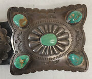 Native American Handmade Concha Belt In Sterling Silver With Royston Turquoise