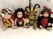 """Classic Creations Porcelain Baby Dolls 8"""" As Bee, Tiger, Ladybugs"""