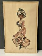 Antique 1902 Saloon/hall Dancer Original Watercolor Painting Signed