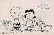 Charles M Schulz Original Snoopy Charlie And Lucy Drawing With Full Signature