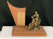 Vintage Rare 1957 Rbmc T.t. Scrambles 5th Place Motorcycle Racing Trophy Wow