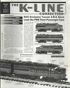The K-line Connection Summer 1997 Tuscan A-b-a Alcos /prr Passenger Cars A315