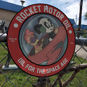 Vintage 1948 Rocket Motor Oil And039oil For The Space Ageand039 Porcelain Gas And Oil Sign