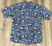 Vntg Disney Mens Button Up S/s Shirt Sz Large Mickey Embroidered Blue Seashells