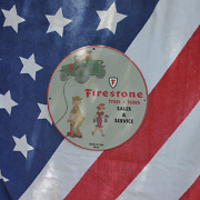 Vintage 1950 Firestone Tyres Tubes Sales And Service Porcelain Gas And Oil Sign