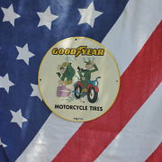 Vintage 1950 Goodyear Motorcycle Tires And Tubes Porcelain Gas And Oil Pump Sign