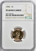 1955 Proof Lincoln Wheat Cent Penny 1c Ngc Certified Pr Pf 68 Cameo Rd
